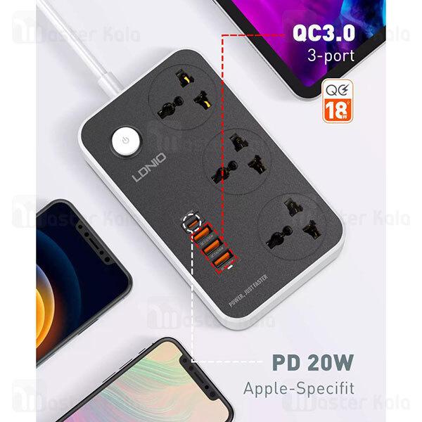 چند راهی برق و شارژر الدینیو LDNIO SC3412 QC3.0 PD3 Power Strip EU دارای 3 پورت USB یک پورت Type C