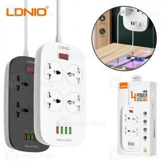 چند راهی برق و شارژر الدینیو LDNIO SC4407 Defender Series QC3.0 Power Strip EU دارای 4 پورت USB