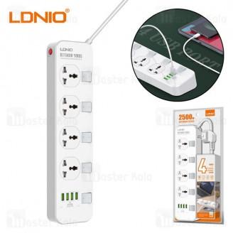 چند راهی برق و شارژر الدینیو LDNIO SC4408 Defender Series Power Strip EU دارای 4 پورت USB