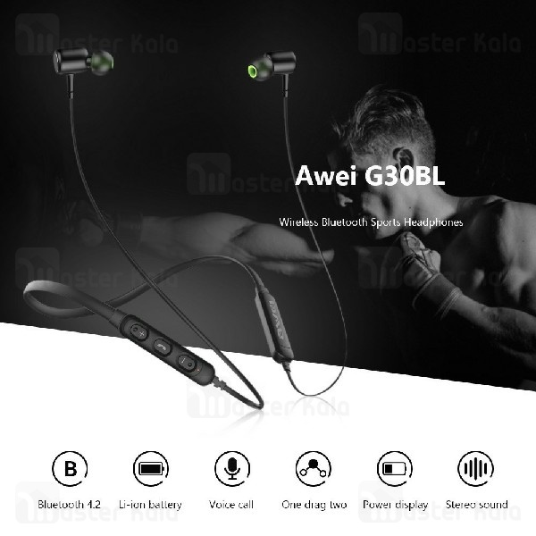 هندزفری بلوتوث اوی Awei G30BL Wireless Sports Earphone گردنی و مگنتی