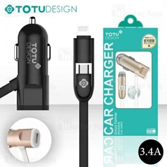 شارژر فندکی توتو Totu Good Partner 3.4A با کابل دو کاره متصل