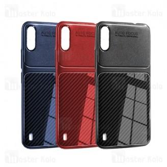 قاب ژله ای طرح چرم فیبر کربنی Samsung Galaxy M10 Auto Focus Fiber Carbon
