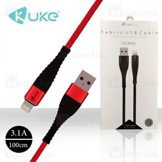 کابل لایتنینگ کنفی Kuke E72 Fabric USB با توان 3.1 آمپر و طول 1 متر