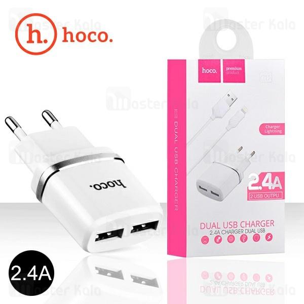شارژر دیواری هوکو Hoco C12 Dual USB Charger توان 2.4 آمپر همراه با کابل