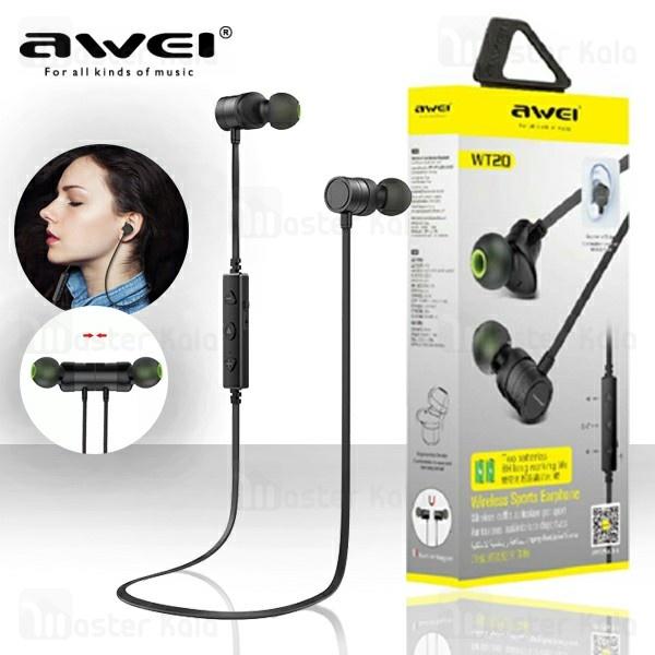 هندزفری بلوتوث اوی AWEI WT20 Wireless Earphone طراحی مگنتی و ضد تعریق