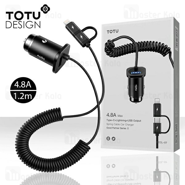 شارژر فندکی توتو TOTU DCCL-07 Good Partner 2 Spring Cable دارای کابل دو کاره