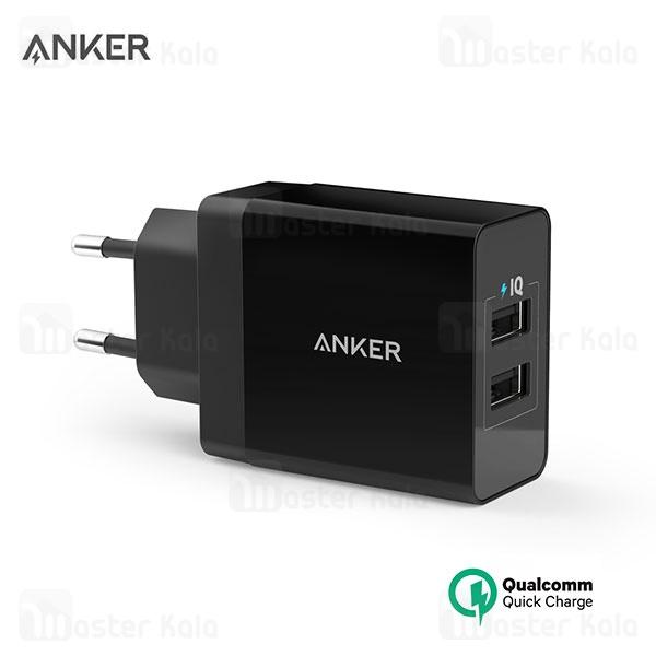 شارژر دیواری فست شارژ انکر Anker A2021 24W 4.8A QC3.0 2 Port
