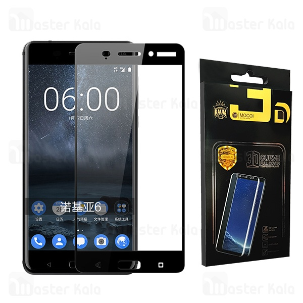 محافظ صفحه نمایش شیشه ای تمام صفحه تمام چسب نوکیا Nokia 6 Mocol Glass