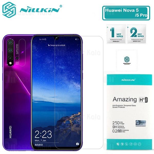 محافظ صفحه شیشه ای نیلکین هواوی Huawei Nova 5 / Nova 5 Pro Nillkin H+ Pro + محافظ لنز
