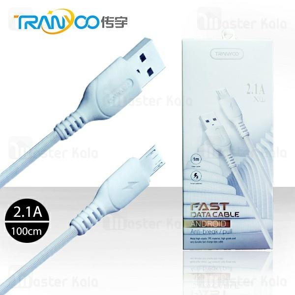 کابل میکرو یو اس بی ترانیو Tranyoo X1 New Cable توان 2.1 آمپر و طول 1 متر