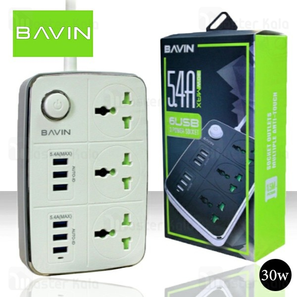 سه راهی برق و شارژ باوین Bavin PC588 Power Strip دارای 6 پورت USB