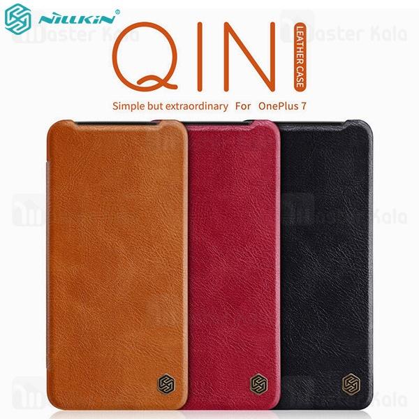 کیف چرمی نیلکین وان پلاس OnePlus 7 Nillkin Qin Leather Case