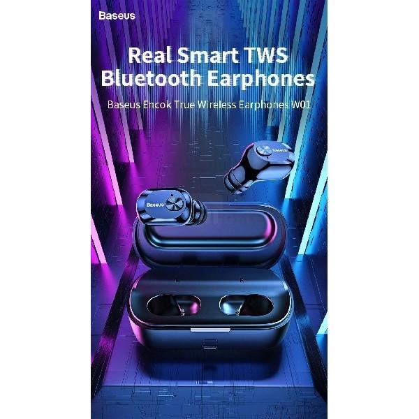 هندزفری بلوتوث دوتایی بیسوس Baseus W01 EncokTrue Wireless Earphones NGW01-01 دارای کیس شارژ