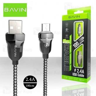 کابل میکرو یو اس بی باوین Bavin CB-087 USB Cable توان 2.4 آمپر و طول 1 متر