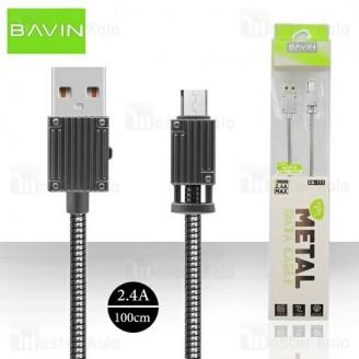 کابل میکرو یو اس بی باوین Bavin CB-111 USB Cable توان 2.4 آمپر و بدنه فلزی