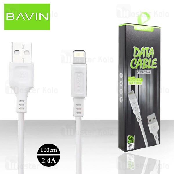 کابل لایتنینگ باوین Bavin CB-127 USB Cable توان 2.4 آمپر و طول 1 متر