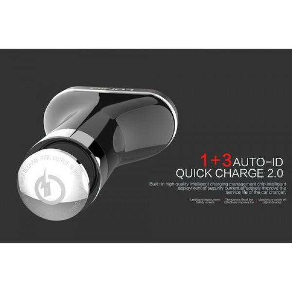 شارژر فندکی فست شارژ 4 پورت 7 آمپر LDNIO C701Q Qualcomm 2.0 با کابل