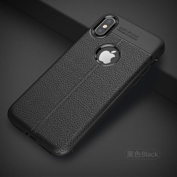 قاب محافظ ژله ای طرح چرم Apple iPhone X مدل Auto Focus