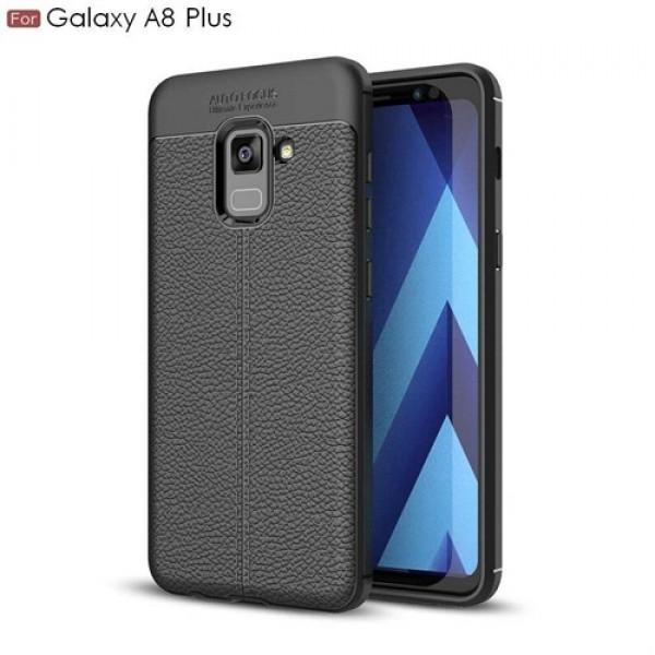 قاب محافظ ژله ای طرح چرم Samsung Galaxy A8 Plus 2018 / A730F مدل Auto Focus