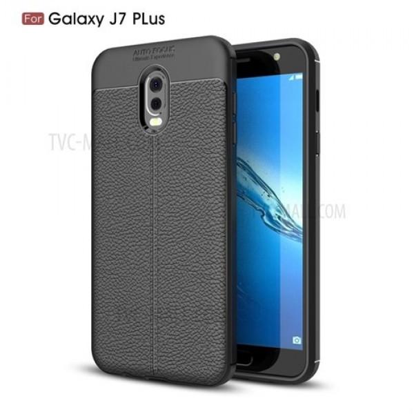 قاب محافظ ژله ای طرح چرم Samsung Galaxy C8 / J7 Plus مدل Auto Focus