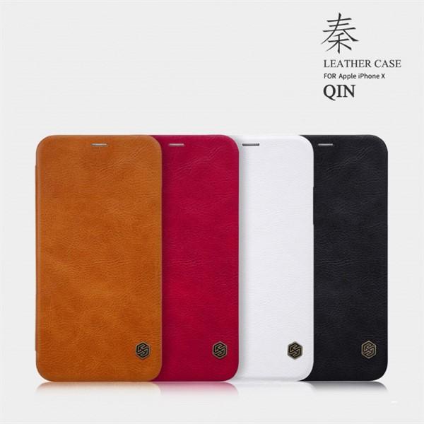 کیف چرمی نیلکین آیفون Apple iPhone X Nillkin Qin Leather Case