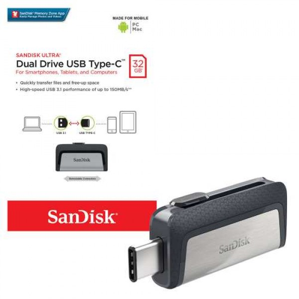 فلش مموری 32 گیگابایت سن دیسک SanDisk Ultra Dual Drive USB3.1 Type-C