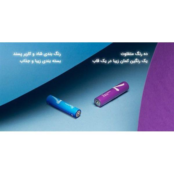 باتری رنگین کمانی نیم قلمی شیائومی مدل Z17 LR03 Alkaline AAA