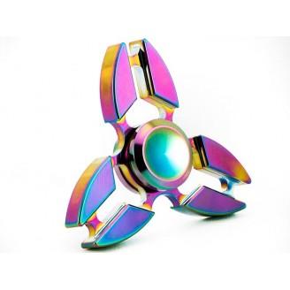 اسپینر فلزی 3 پره رنگین کمانی Fidget Spinner Three blades Metal Rainbow