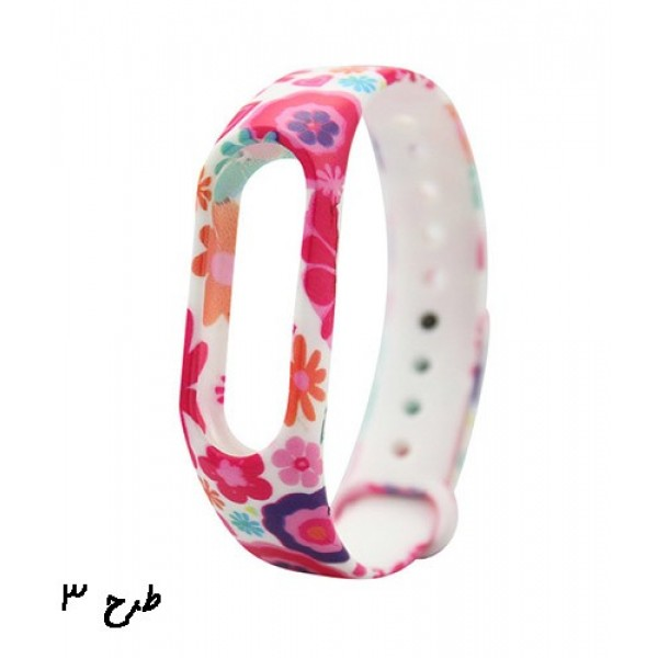 بند سیلیکونی گلدار دستبند سلامتی شیائومی مدل Mi Band 2