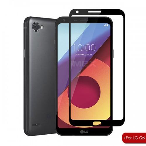 محافظ صفحه نمایش شیشه ای تمام صفحه و خمیده مناسب LG Q6