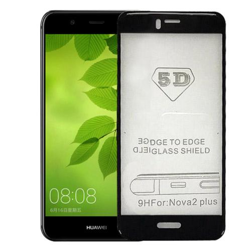 محافظ صفحه نمایش شیشه ای تمام صفحه و خمیده تمام چسب مناسب Huawei Nova 2 Plus