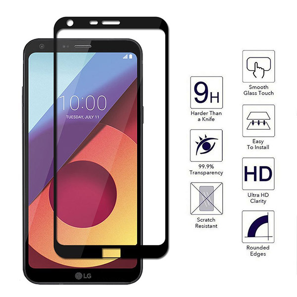 محافظ صفحه نمایش شیشه ای تمام صفحه دور چسب برای LG Q6
